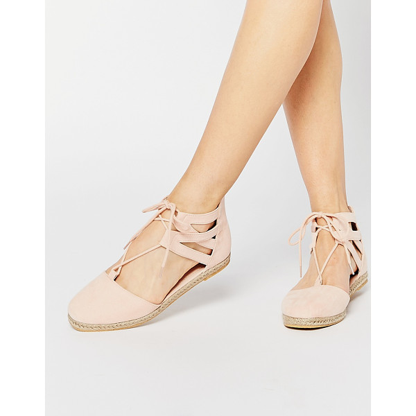 ASOS JESSICA Lace Up Espadrilles - Flat shoes by ASOS Collection, Suede-look upper, Lace-up...