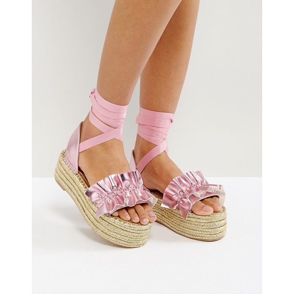 "ASOS JEZZINA Ruffle Gold Espadrilles - """"Espadrilles by ASOS Collection, Faux-leather upper,..."