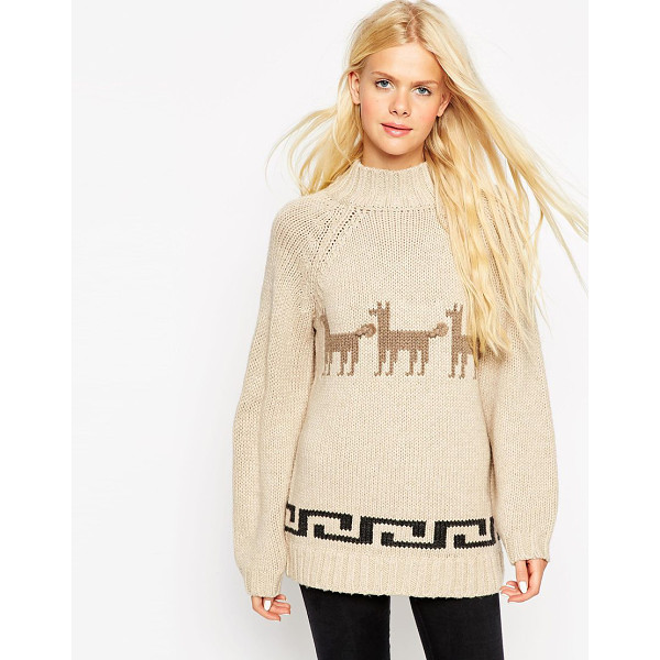 ASOS Sweater with llama motif - Sweater by ASOS Collection Wool-mix knit Ribbed turtle...