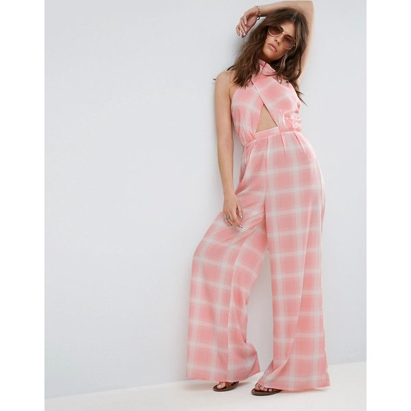 "ASOS Jumpsuit in Check with Cross Front and Super Wide Leg - """"Jumpsuit by ASOS Collection, Lightweight woven fabric,..."