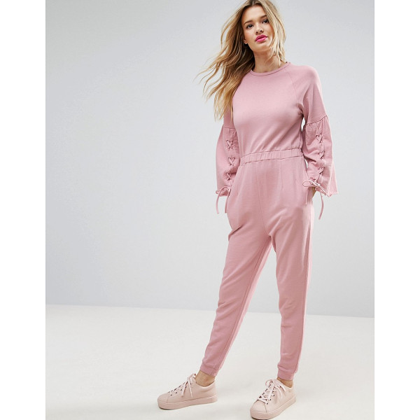 """ASOS Jumpsuit in Sweat with Flared Sleeve and Lace Up Detail - """"""""Jumpsuit by ASOS Collection, Loop-back sweat fabric, Crew..."""