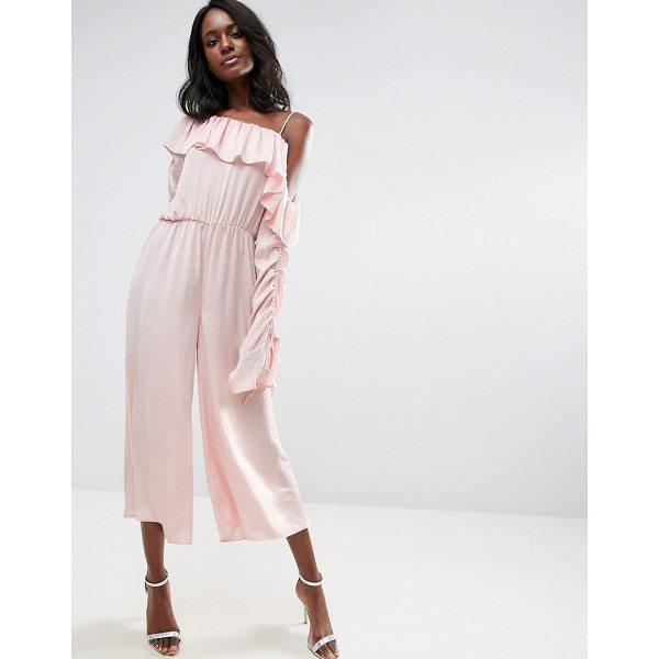 """ASOS Jumpsuit with One Shoulder and Ruched Sleeve - """"""""Jumpsuit by ASOS Collection, Lightweight silky-feel..."""