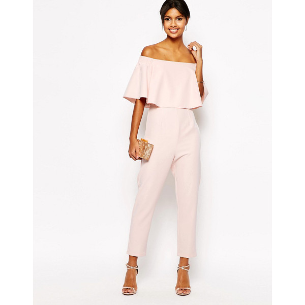 ASOS Jumpsuit with ruffle bardot - Jumpsuit by ASOS Collection, Soft-touch woven fabric,...