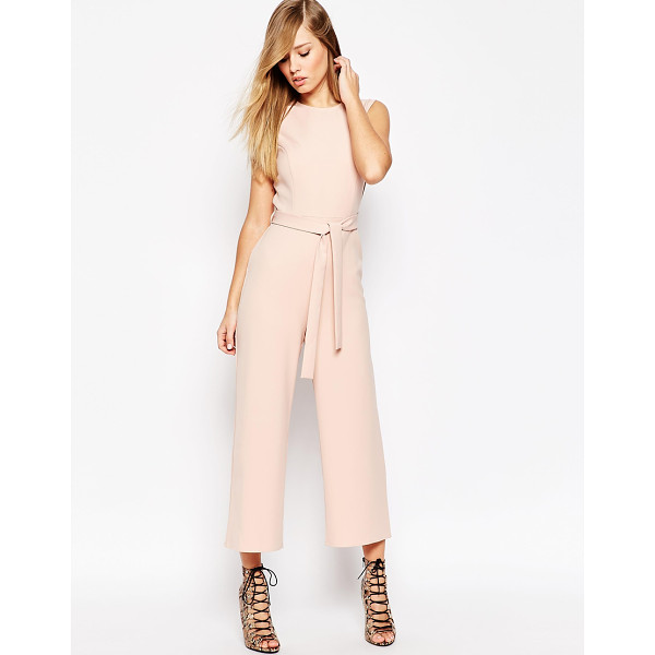 ASOS Jumpsuit With Tie Waist and Culotte Leg - Jumpsuit by ASOS Collection, Smooth woven fabric, Tie...