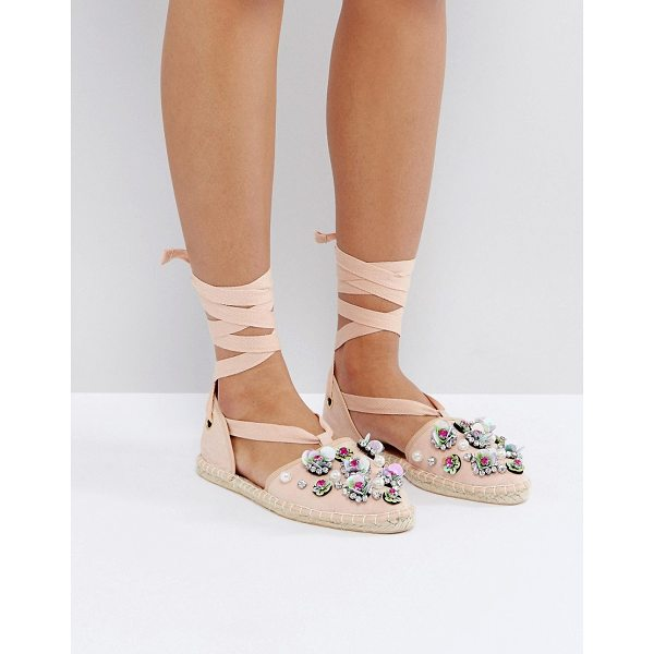 ASOS JUTE Embellished Espadrilles - Espadrilles by ASOS Collection, Textlie upper, Ankle-tie...