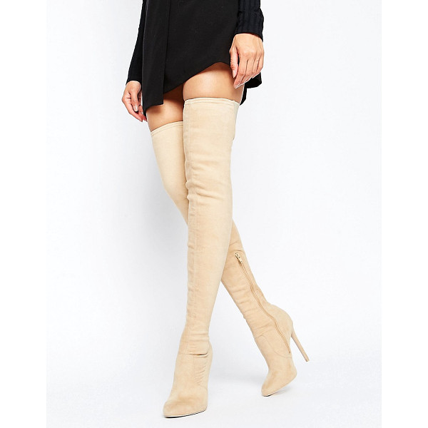 ASOS KAMBER Stretch Over The Knee Boots - Boots by ASOS Collection, Textile upper, Side zip opening,