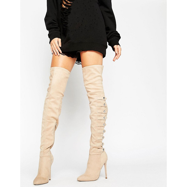 ASOS KARIANNE Multi Strap Over The Knee Boots - Boots by ASOS Collection, Faux-suede upper, Side zip...