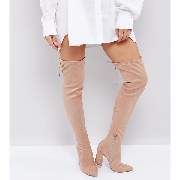 """ASOS KARMA Pointy Over The Knee Boots - """"""""Boots by ASOS Collection, Faux-suede upper, Side zip..."""