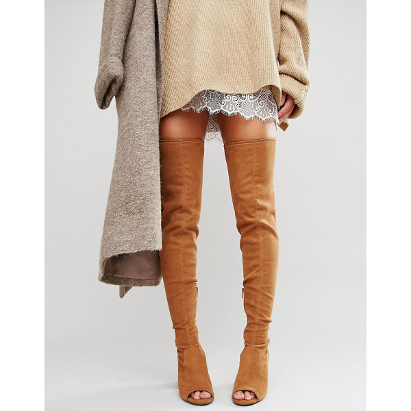 ASOS KASTOR Over The Knee Peep Toe Boots - Boots by ASOS Collection, Faux-suede upper, Over-the-knee...