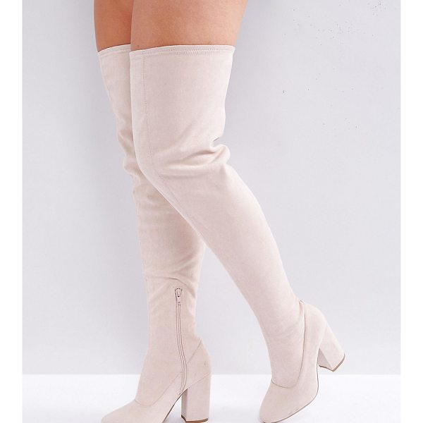 ASOS KATCHER Wide Fit Heeled Over The Knee Boots - Boots by ASOS Collection, Faux-suede upper, Side-zip...