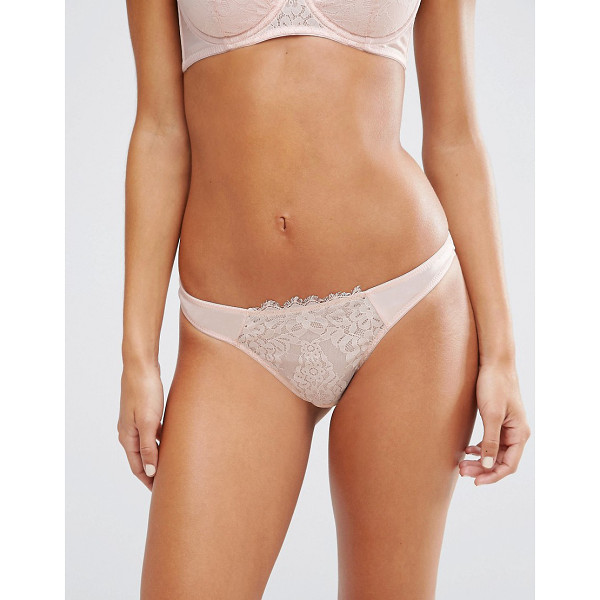 ASOS Kendra Satin & Lace Thong - Thong by ASOS Collection, Soft-touch satin, High-rise...