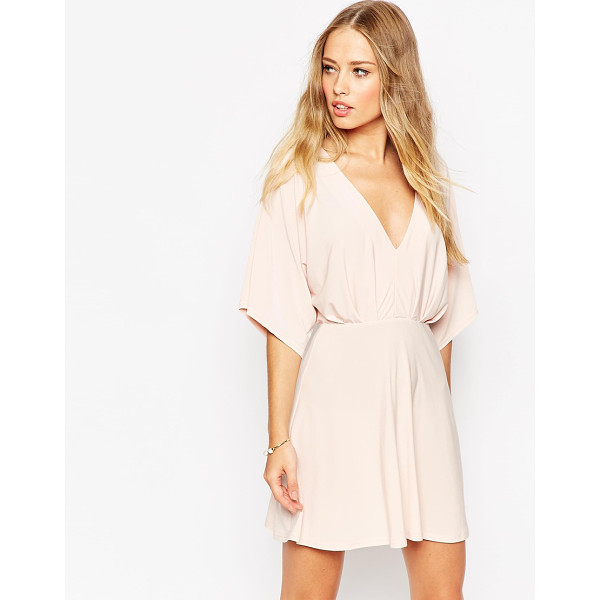 ASOS Kimono Plunge Mini Dress - Evening dress by ASOS Collection, Lightweight, soft-touch...