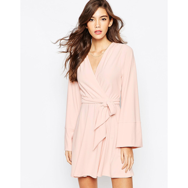 ASOS Kimono wrap dress with tie waist - Dress by ASOS Collection Mid-weight, stretch crepe Plunge...