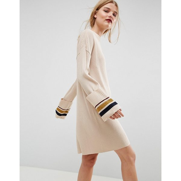 "ASOS Knitted Dress With Turn Up Cuffs And Tipping - """"Knit dress by ASOS Collection, Ribbed knit, High neck,..."