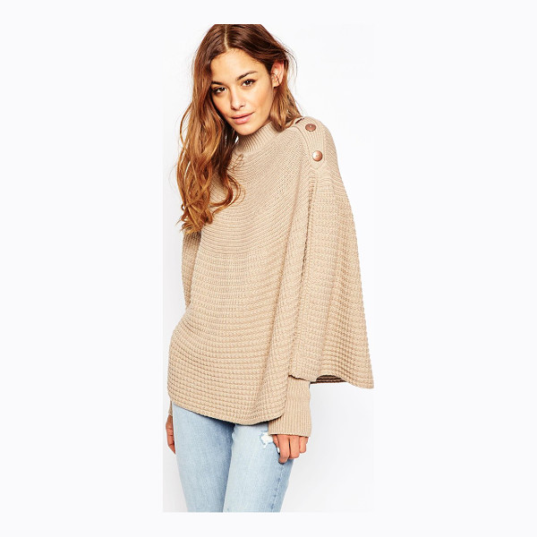 ASOS Knitted Poncho - Poncho by ASOS Collection, Textured knit, High neckline,...
