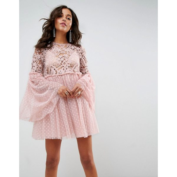 "ASOS Lace and Dobby Mesh Fluted Sleeve Mini Smock Dress - """"Dress by ASOS Collection, Semi-sheer crochet lace top,..."
