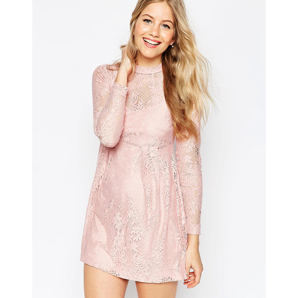 ASOS Lace Babydoll Dress - Dress by ASOS Collection, Semi-sheer lace, High neckline,...