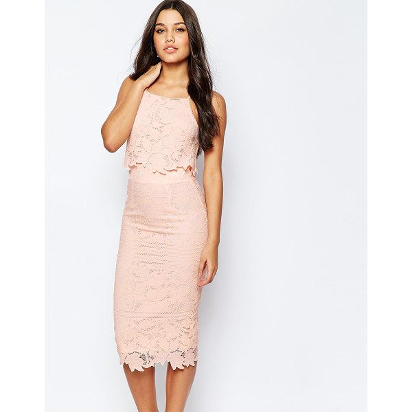"ASOS Lace Floral Scallop Midi Dress - """"Dress by ASOS Collection, Textured lace, Slim straps,..."