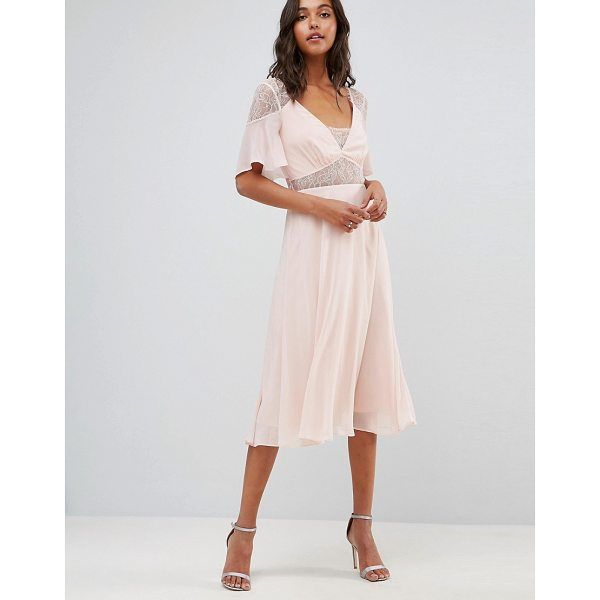 """ASOS Lace Insert Flutter Sleeve Midi Dress - """"""""Dress by ASOS Collection, Lined chiffon, Sheer lace..."""