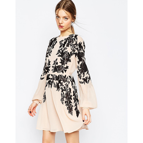 ASOS Lace placed embroidered mini dress - Lace dress by ASOS Collection Lined, woven fabric Contrast...