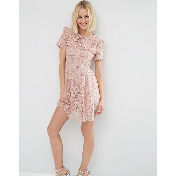 "ASOS Lace Ruffle Yoke Skater Dress - """"Skater dress by ASOS Collection, Floral lace, Partially..."