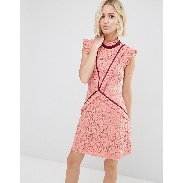 ASOS Lace Shift Dress with Ruffle Detail and Contrast Trim - Lace dress by ASOS Collection, Lined lace, High neckline,...