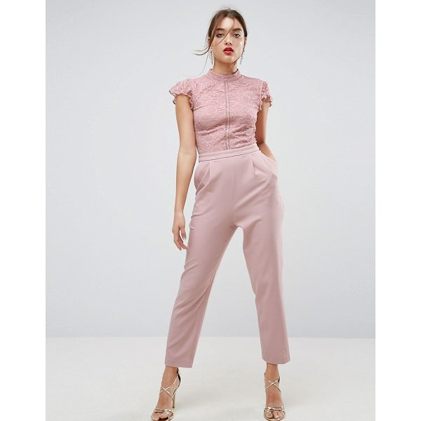 ASOS Lace Top Jumpsuit - Jumpsuit by ASOS Collection, Partially-lined lace top, High...