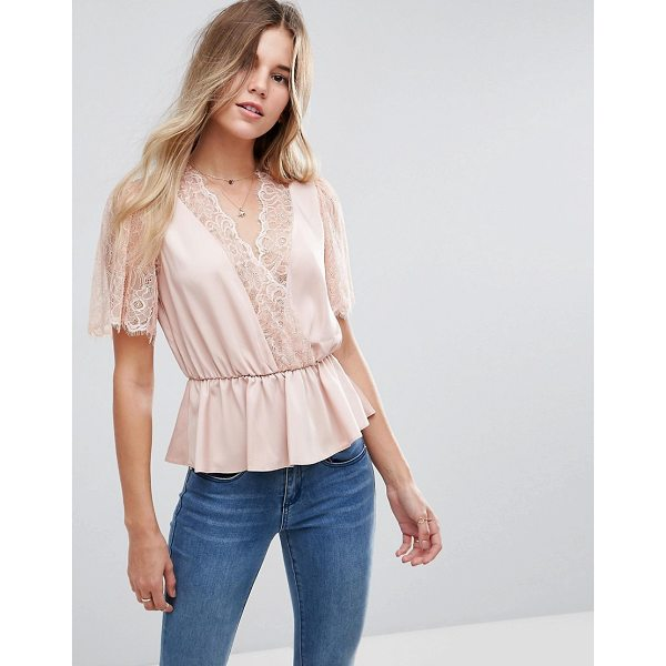 ASOS Lace Trim Wrap Blouse - Top by ASOS Collection, Lightweight woven fabric, Lace...