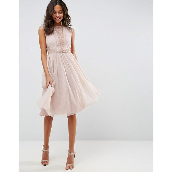 """ASOS Lace Tulle Cap Sleeve Midi Dress - """"""""Dress by ASOS Collection, Partially-lined lace top, High..."""