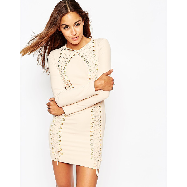 ASOS Lace up contour body-conscious mini dress - Evening dress by ASOS Collection Mid-weight stretch fabruc...