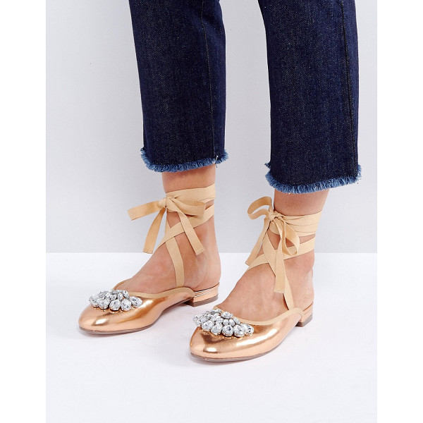 ASOS LADY LUCK Embellished Ballet Flats - Shoes by ASOS Collection, Faux-leather upper, Metallic...