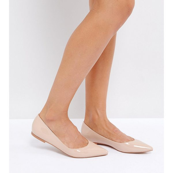 ASOS LATCH Pointed Ballet Flats - Flat shoes by ASOS Collection, Faux-leather upper, Patent...