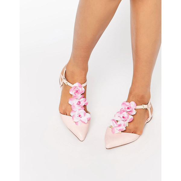 ASOS LEAF Flower Pointed T-bar Ballet Flats - Flat shoes by ASOS Collection, Faux-leather upper, T-bar...