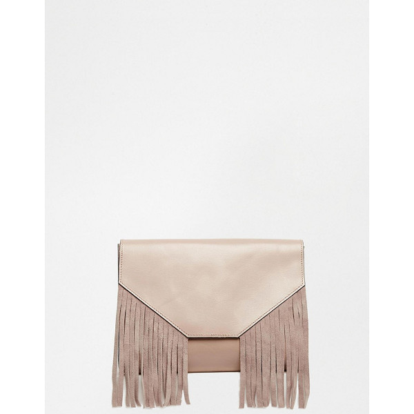ASOS Leather fringed clutch bag - Clutch bag by ASOS Collection Leather fabric outer Fringe...