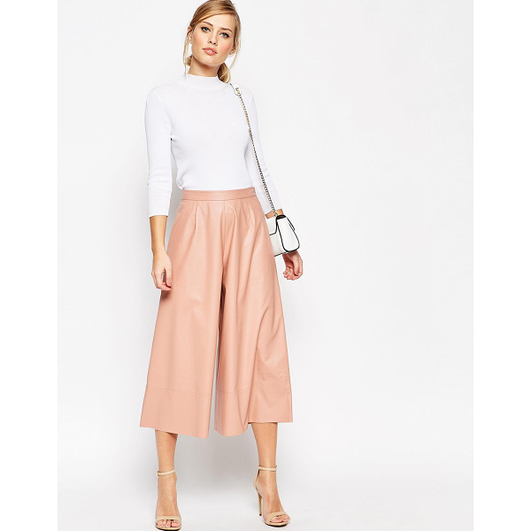 ASOS Leather Look Culottes - Pants by ASOS Collection, Leather-look fabric, Fitted high...