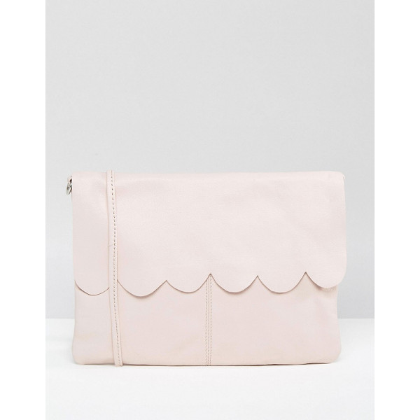 ASOS Leather Scallop Cross Body With Detachable Strap - Bag by ASOS Collection, Leather outer, Detachable body