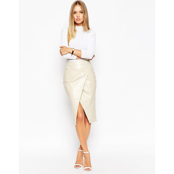 ASOS Leather Wrap Pocket Detail Skirt - Midi skirt by ASOS Collection, Supple leather, Satin...