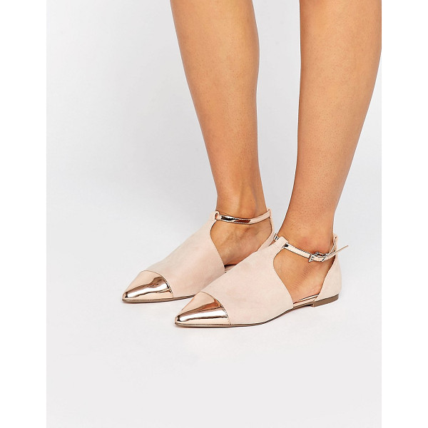 ASOS LEEDS Pointed Ballet Flats - Flat shoes by ASOS Collection, Faux-suede upper, Metallic...
