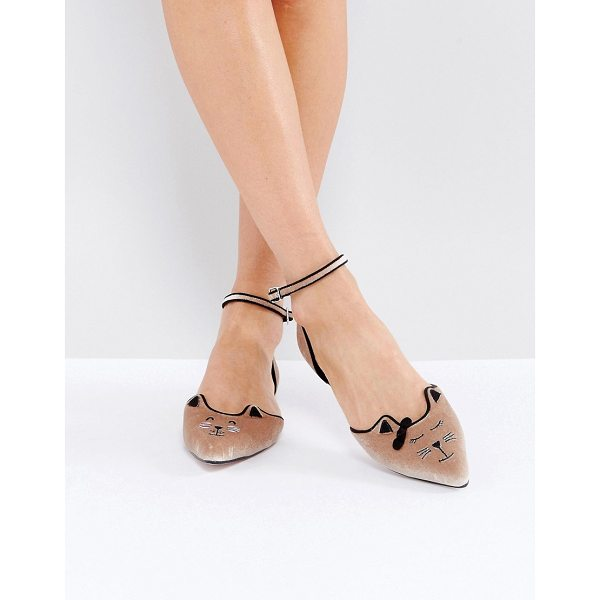 ASOS LEXUS Cat Pointed Ballet Flats - Flat shoes by ASOS Collection, Textile upper, Ankle-strap...