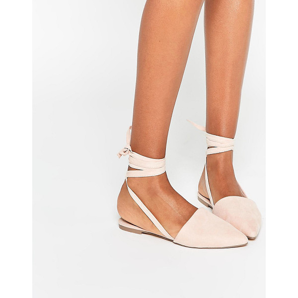 ASOS LIFE OF THE PARTY Lace Up Pointed Ballet Flats - Flat shoes by ASOS Collection, Faux suede upper, Pointed...