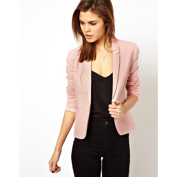 ASOS Linen tailored blazer - Dry clean only. Body: 57% Linen, 43% Viscose Lining: 100%...
