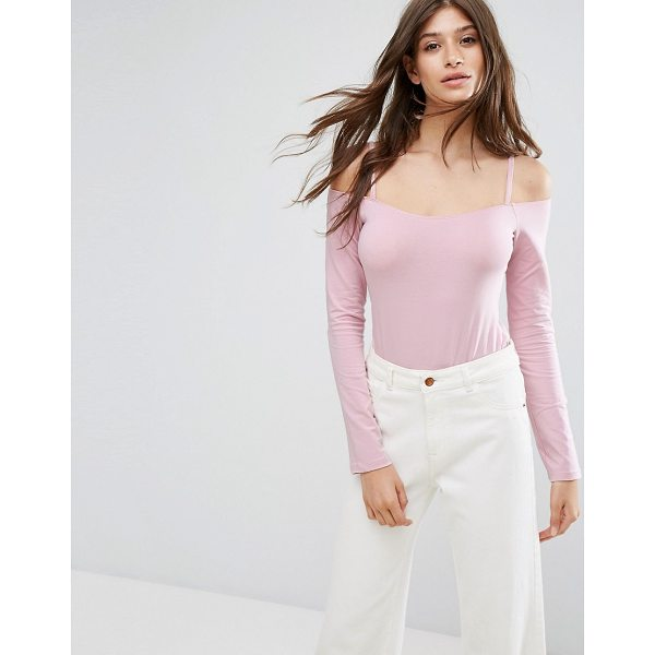 ASOS Long Sleeve Off Shoulder Body with Skinny Strap - Body by ASOS Collection, Stretch jersey, Cold-shoulder...