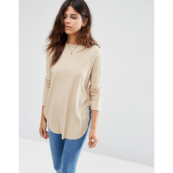 ASOS Long Sleeve Top with Side Splits and Curve Hem - Top by ASOS Collection, Stretch knitted fabric, Ribbed...