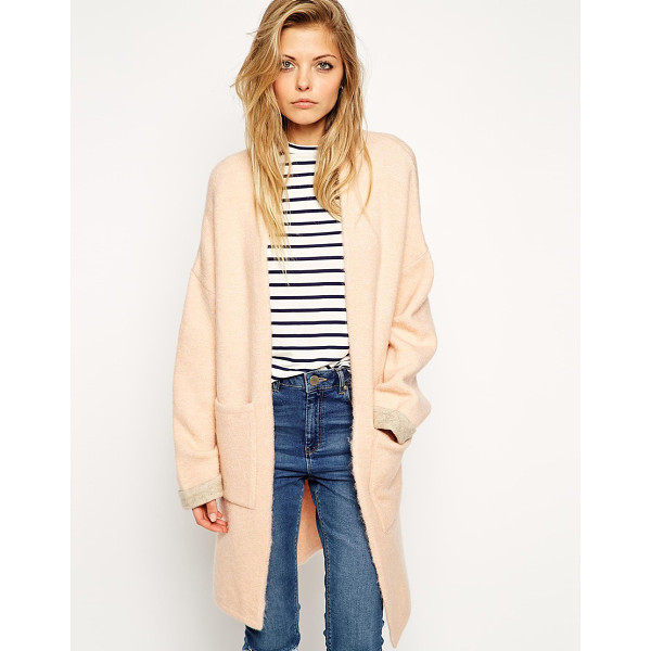 ASOS Longline cardigan with patch pockets - Cardigan by ASOS Collection Mid-weight, soft touch Fluffy...