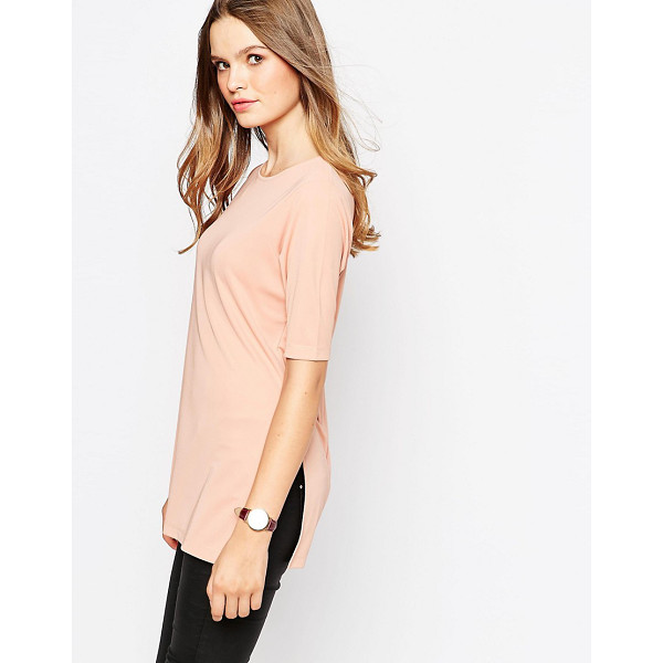 ASOS Longline top in crepe with splits - T-shirt by ASOS Collection, Crepe jersey fabric, Round...