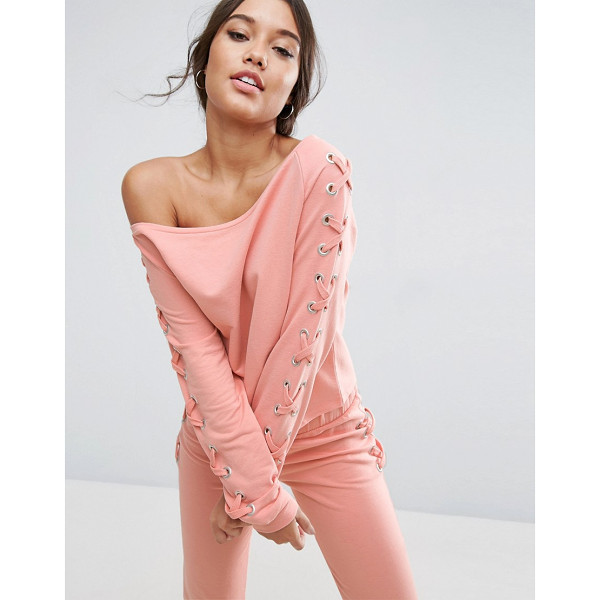 ASOS LOUNGE Lace Up Off Shoulder Sweat Top - Sweatshirt by ASOS Collection, Soft-touch sweat,...