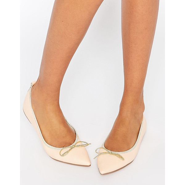 ASOS Lulu pointed elasticated ballet - Ballet pumps by ASOS Collection Faux-leather upper Contrast...