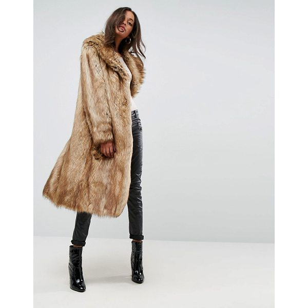 ASOS Luxe Maxi Coat in Faux Fur - Coat by ASOS Collection, Soft-touch faux-fur fabric, Fully...