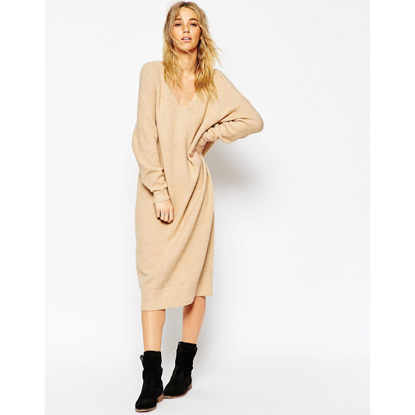 ASOS Midi dress in mohair with v-neck - Knit dress by ASOS Collection Heavyweight chunky knit...