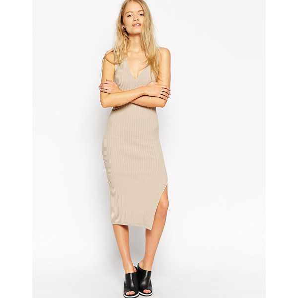 ASOS Midi dress in rib with wrap detail - Knit dress by ASOS Collection Fine, ribbed knit Deep...